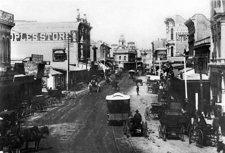 View of Spring Street, Los Angeles looking north from 1st Street, circa 1870-1880. California Historical Society Collection/USC